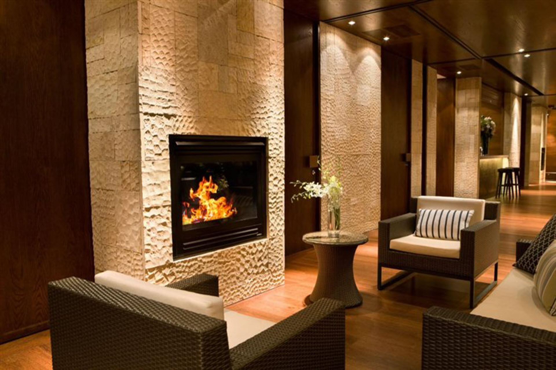 Rattan Lounges with Fireplace